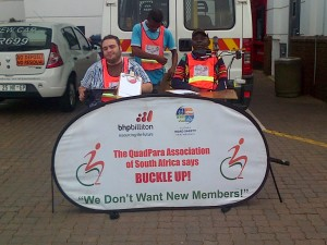 Jamie Cooks, Siphiwe Nkuta and July Mathebula taking part in the Buckle-Up Campaign